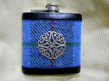 Celtic knot hip flask with blue, green and grey Harris Tweed , an ideal mens gift for christmas or birthday or a present for best man,  usher or groomsman