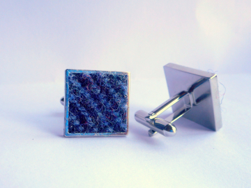 Harris Tweed cuff links two tone blue square silver in gift box