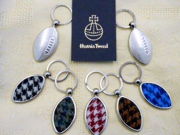 Harris Tweed Rugby keyring houndstooth  key fob in box wedding favour gift made in scotland
