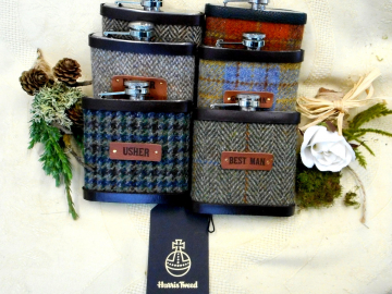 Gifts for Barn or Rustic wedding, set of six Harris Tweed groomsman hip flasks with leather labels for usher,  best man ,  father of the bride or groom