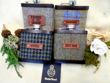 Set of four Rustic or Barn wedding gifts Harris Tweed hip flasks with leather labels usher groomsman best man  father of the bride or groom
