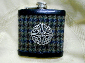 Hip flask in blue green brown Harris Tweed with celtic knot,  a great Best Man or Groomsman gift at weddings, retirement, Christmas or birthday present