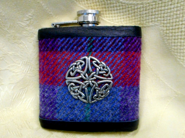 Harris Tweed hip flask blue red purple with Celtic knot made in Scotland  UK