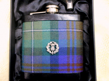 Tartan hip flask Isle of Skye plaid with thistle Scottish gift for men ideal retirement  best man or usher's gift