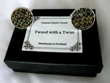 Harris Tweed cuff links in brown tones, round silver plated setting, Made in Scotland