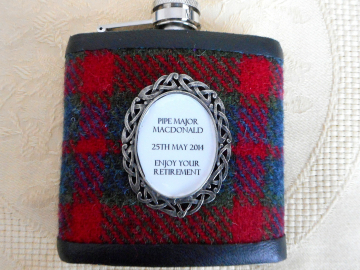 Red and Green tartan harris tweed hip flask with inscription in celtic pewter setting