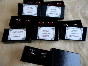 Six pairs of cufflinks for the Ushers