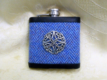 Celtic Knot Hip flask Celtic in blue Harris Tweed herringbone,  mens gift for retirement, christmas , birthday or weddings,  made in Scotland