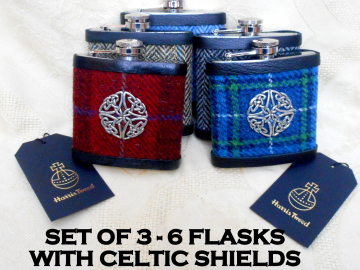 Harris Tweed hip flasks sets of 3-6 with Celtic shield and optional personalized labels Wedding gifts or favours for Best Man or Groomsmen