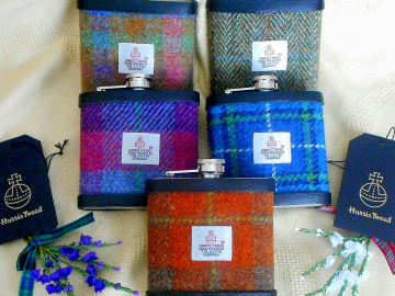 Groomsmens gifts Harris Tweed hip flasks in sets of  3,4,5 or 6 for Best Man, Ushers, Father of the Bride, Groom