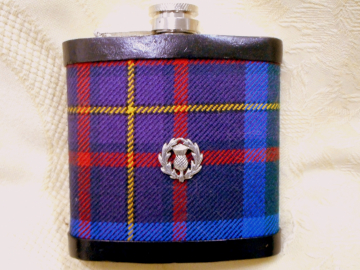 Guardian of Scotland Tartan hip flask plaid with thistle Scottish gift for men ideal retirement gift