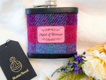 Maid of Honour gift Harris Tweed hip flask, choose any tweed,  Scottish luxury gift for wedding favour, optional personalised box label