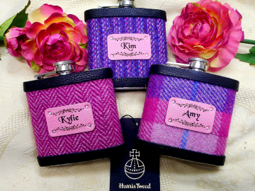 Personalised named bridesmaids gifts Pink or purple Harris Tweed hip flasks, Scottish luxury gift for wedding favour, hen night or bachelorette party