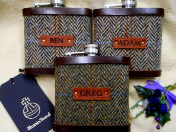 Personalised name Groomsman gifts  Harris Tweed hip flasks with leather labels Scottish luxury gift for wedding  Best Man, Usher, Father of Bride or groom, choice of tweeds.