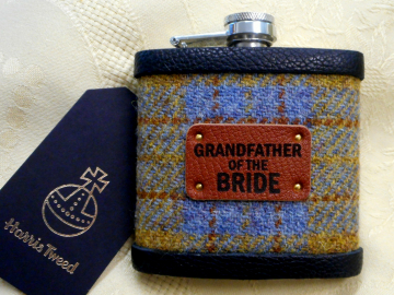 Grandfather of the Bride Harris Tweed hip flask , choose any tweed with leather label,  wedding gift or favour, Made by Tweed with a Twist,  in Scotland, Scottish rural  theme