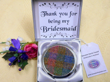 Bridesmaid gift in Harris Tweed Compact Mirror,  choice of colour made in Scotland by Tweed with a Twist
