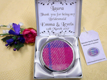 Personalised Bridesmaid gift Compact Mirrors in Harris Tweed,  choice of colour made in Scotland by Tweed with a Twist