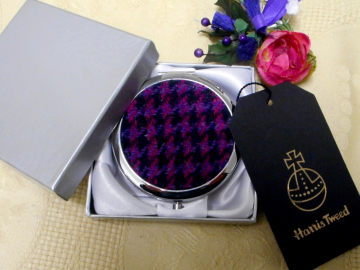 Purple Pink and black Compact Mirror  Harris Tweed,  Scottish womens gift,  for mother, sister, teacher or best friend handbag or pocket accessory, round silver plated made in Scotland UK