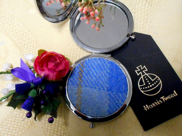 Baby blue plaid Harris Tweed compact mirror  womens gift for Mother, sister, best friend, handbag or pocker accessory, made in Scotland UK