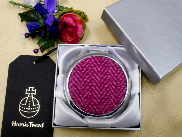 Bright pink Herringbone compact mirror Harris Tweed small gift for her,  birthday, mothers day , christmas  from Tweed with a Twist, Scotland