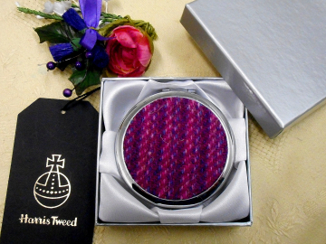 Cerise Pink Compact Mirror Kaona Harris Tweed, womens little gift for mother, sister, best friend ,  for handbag or pocket  made in Scotland by Tweed with a Twist