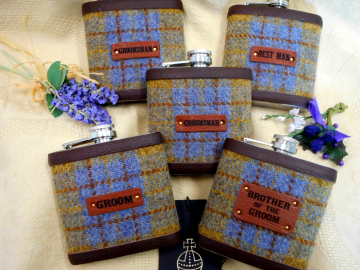 Set of five flasks for rustic wedding