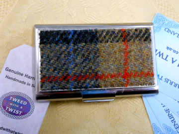 Blue, beige and red Harris Tweed Business card case stainless steel  credit card holder in box, gift for him