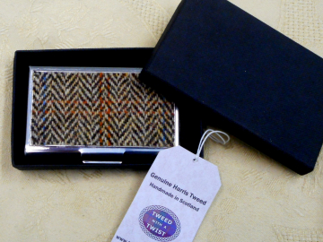 Harris Tweed Business or credit card case brown and cream herringbone stainless steel  card holder in box, gift for him