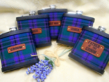 Your Wedding kilt tartan Hip Flasks  with standard leather labels for Best Man, Usher, Father of Bride or groomsmen, etc. .Scottish luxury gift