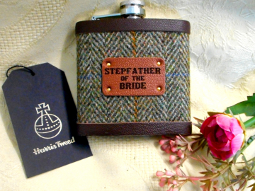 Stepfather of the Bride or Groom wedding gift Harris Tweed hip flask with leather trim, choice of many tweeds, personalized gift