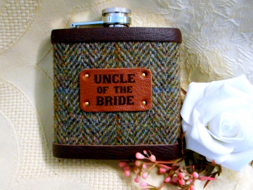 Uncle of the Bride or Groom Harris Tweed hip flask with leather trim, choice of many tweeds, personalized wedding gift