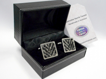 Harris Tweed square cuff links in traditional grey and black herringbone weave mens gift made in Scotland ideal for weddings