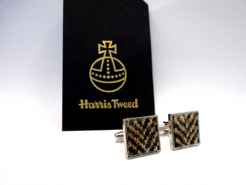 Harris Tweed Brown herringbone square cuff links made in Scotland , mens  accessories cufflinks Christmas, wedding, groomsman, fathers day gift for him