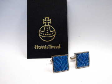 Blue Harris Tweed cuff links made in Scotland mens accessories, groomsmans wedding square cufflinks , Christmas gift for him traditional herringbone fabric