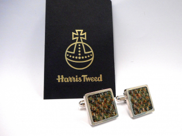 Olive green Harris Tweed cuff links herringbone weave, Scottish gift for men made in Scotland