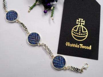 Blue Harris Tweed bracelet celtic knot bangle made in Scotland womens or bridesmaid jewellery,  mothers day  Christmas or birthday gift