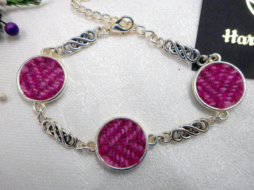 Pink Herringbone Harris Tweed bracelet with celtic knots  made in Scotland womens or bridesmaid jewellery,  mothers day  Christmas or birthday gift