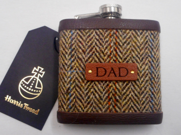 Gift for Dad Harris Tweed hip flask , Scottish luxury gift for retirement, birthday or Christmas  in choice of any tweed with real leather label