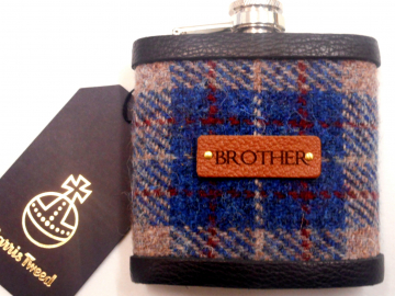 Gift for Brother Harris Tweed hip flask , Scottish luxury gift for Christmas , birthday with real leather label choose any tweed