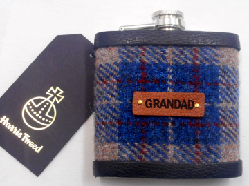 Gift for Grandad Harris Tweed hip flask  for Christmas , birthday Scottish luxury gift for him with real leather label choose any tweed