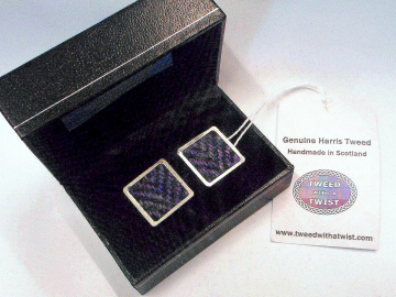 Cufflinks in Harris Tweed purple heather herringbone mens gift for him Scottish made in Scotland  square cuff links for fathers day, Christmas gift