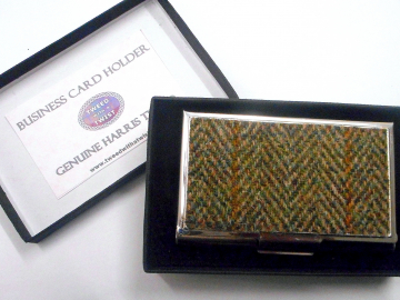 Business or credit card case Harris Tweed green herringbone stainless steel  card holder in box, gift for him