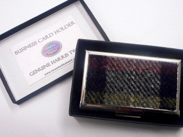Harris Tweed Business card case red, black and olive plaid, stainless steel  credit card holder in box, gift for him
