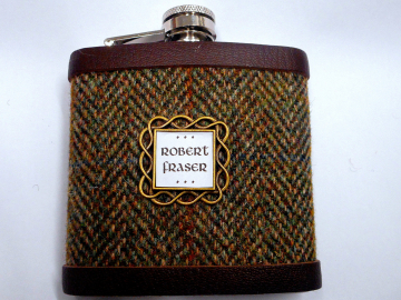 Personalised Harris Tweed hip flask with name in celtic setting, Scottish luxury gift for Christmas , birthday, retirement choose any tweed