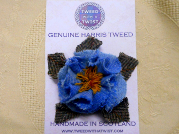 Blue Harris Tweed Brooch corsage shabby rose pin,  womens gift for her, mothers day or birthday present,