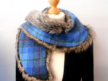 Harris Tweed / Faux Fur Scarf luxury gift for her warm winter clothing reversible wrap blue ang grey