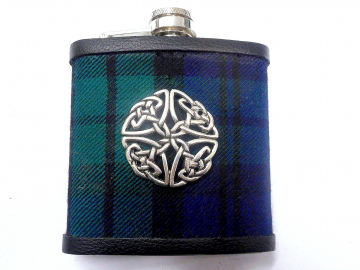 Black Watch Tartan hip flask with Cetic Knot Scottish gift for men made in scotland retirement,  best man, groomsman , father's day present