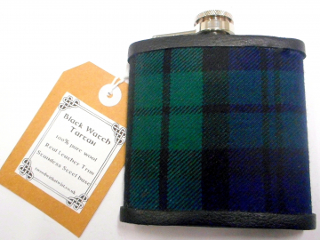 Black Watch Tartan hip flask Scottish gift for men made in scotland retirement,  best man, groomsman , father's day present