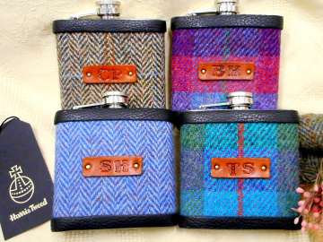 Personalised groomsmens Monogrammed Harris Tweed hip flasks with 1-3 initials on brown leather for Best Man or Ushers at wedding , Father of the Bride or Groom