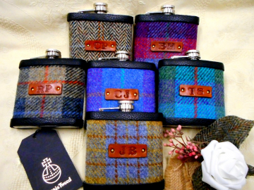 Set of Six Harris Tweed flasks with initials embossed on leather